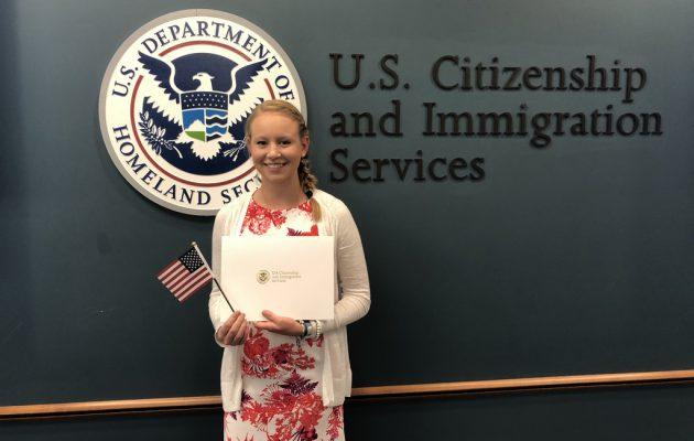 Trine er blevet Amerikansk statsborger.